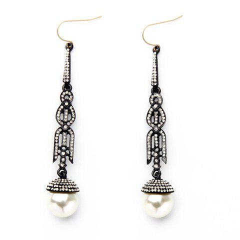 Pair of Chic Faux Pearl Rhinestone Earrings Jewelry For Women