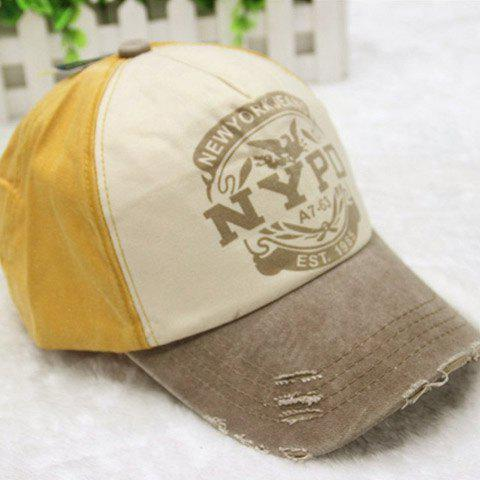 Stylish Broken Hole Letter Pattern Men's Baseball Cap - YELLOW