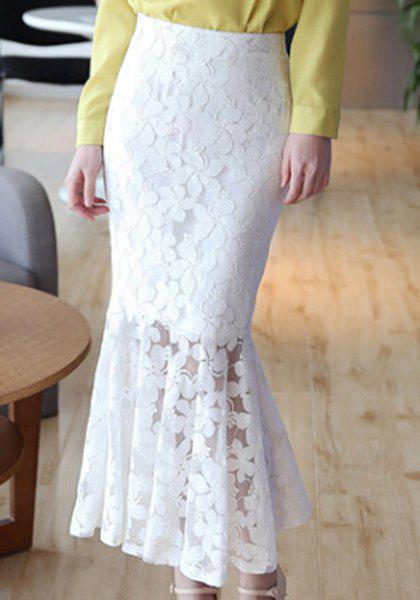 Stylish Lace Pattern Hollow Out Mermaid Skirt For Women - WHITE XL