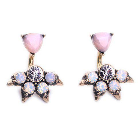 Pair of Chic Rhinestone Faux Gem Triangle Earrings For Women