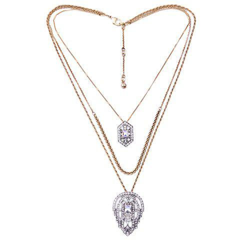 Faux Crystal Multilayered Rhinestone Necklace - GOLDEN