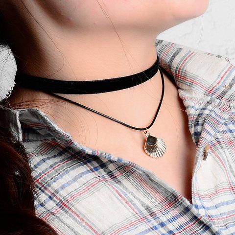Seashell Shape Pendant Double Chokers Necklace - BLACK