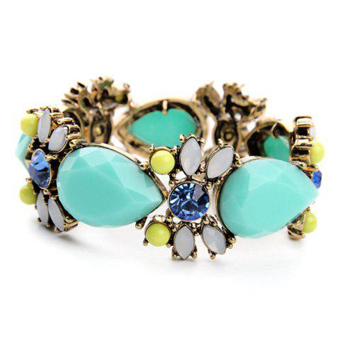 Faux Gem Water Drop Floral Bracelet - GREEN