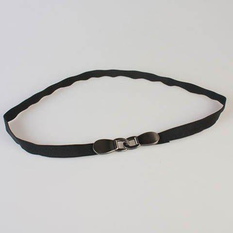 Elegant Chinese Character Shape Alloy Hook Buckle Elastic Waist Belt For Women - BLACK