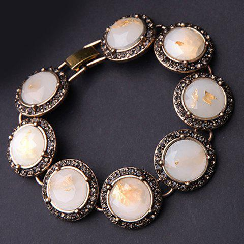 Trendy Faux Gem Rhinestone Round Bracelet For Women