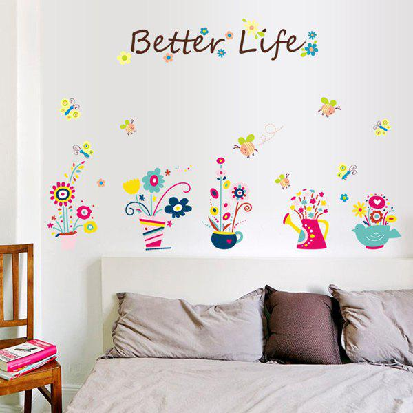 Stylish Cartoon Bee and Bonsai Pattern Wall Sticker For Bedroom Livingroom Decoration -  COLORMIX