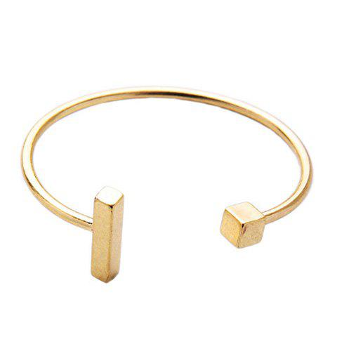 Delicate Solid Color Square Cuff Bracelet For Women - GOLDEN