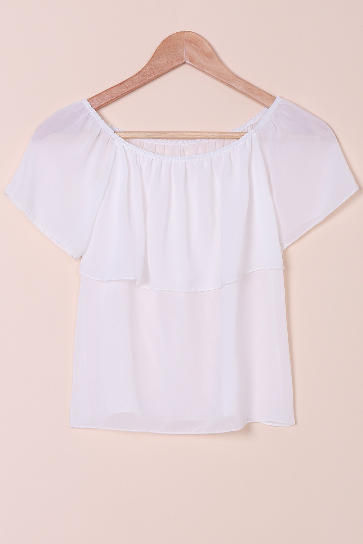 Sexy Style Slash Neck Solid Color Chiffon T-Shirt For Women - WHITE S