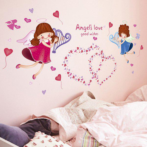 Stylish Sweet Heart Angle Pattern Wall Sticker For Bedroom Livingroom Decoration