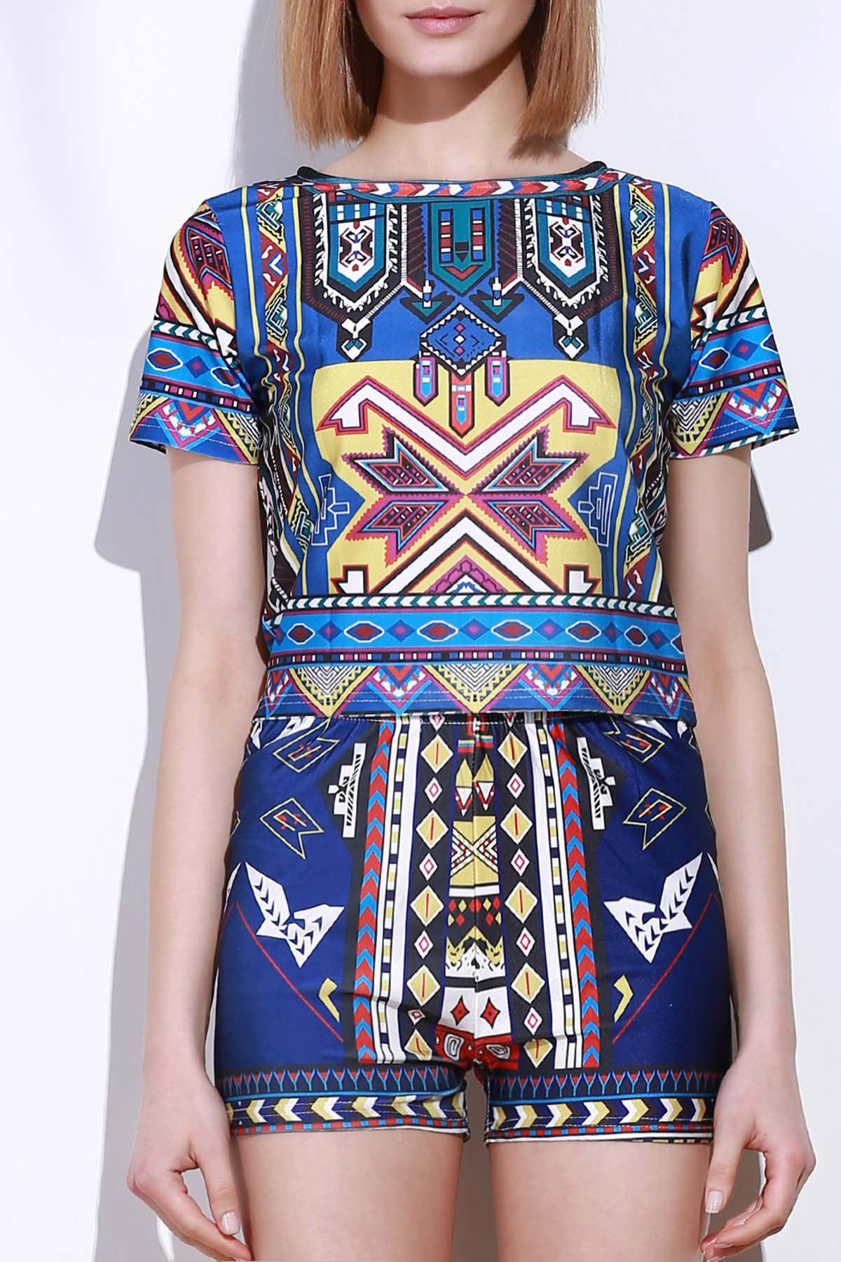 Ethnic Style Geometric Printed Short T-Shirt+High Waist Shorts Twinset For Women - COLORMIX XL