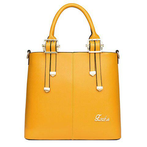 Fashion Solid Color and Belt Design Women's Tote Bag - YELLOW