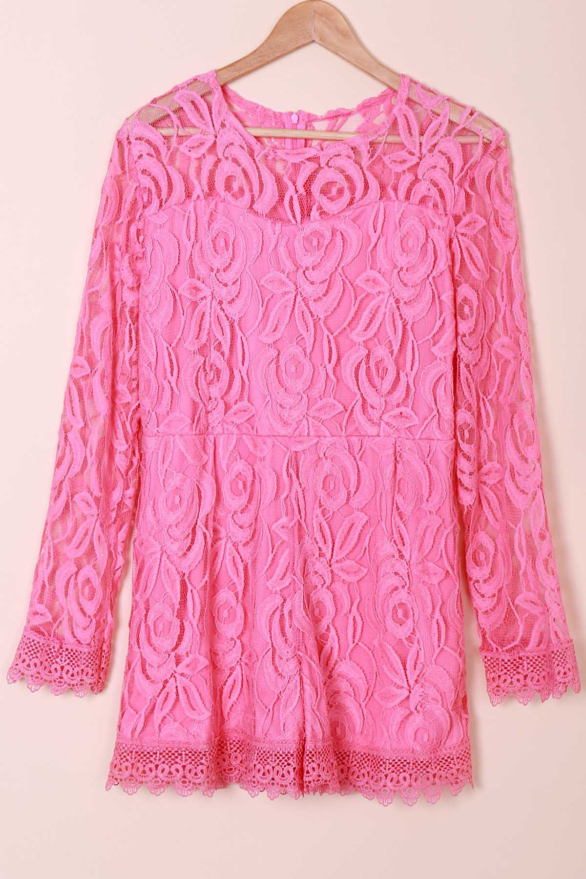 Stylish Round Neck Long Sleeve Plus Size Solid Color Lace Women's Romper - PINK 3XL