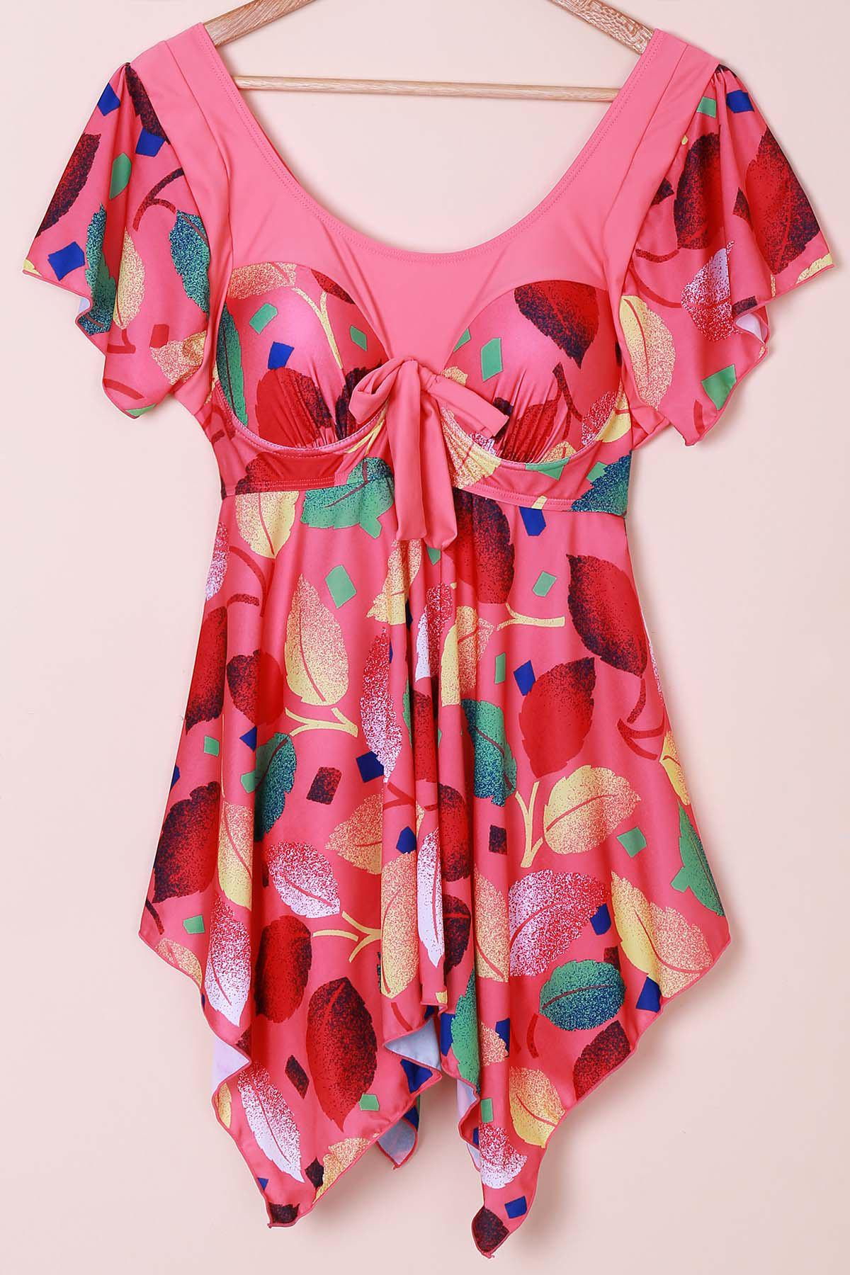 Chic Women's Scoop Neck Leaves Print Short Sleeve Swimsuit - WATERMELON RED XL
