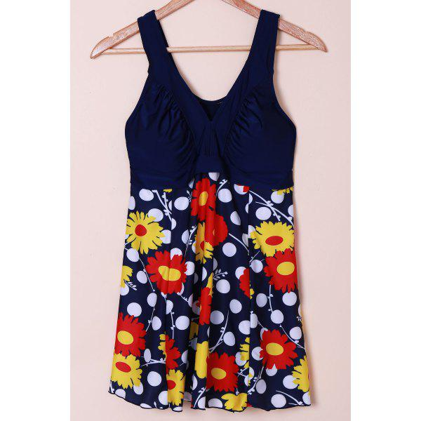 Sweet Women's V-Neck Polka Dot and Flower Print Swimsuit