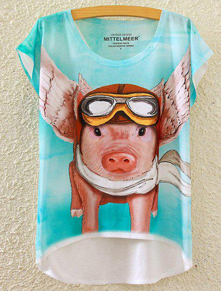 Cute Women's Scoop Neck Pig Print High Low Short Sleeve T-Shirt - WHITE ONE SIZE(FIT SIZE XS TO M)