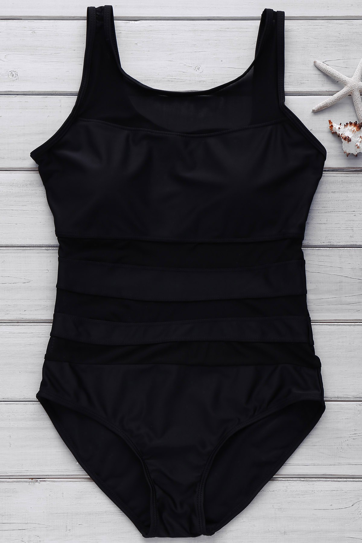 Sexy Scoop Neck Sleeveless Siamesed Hollow-Out Design Solid Color Women's Swimwear - BLACK L