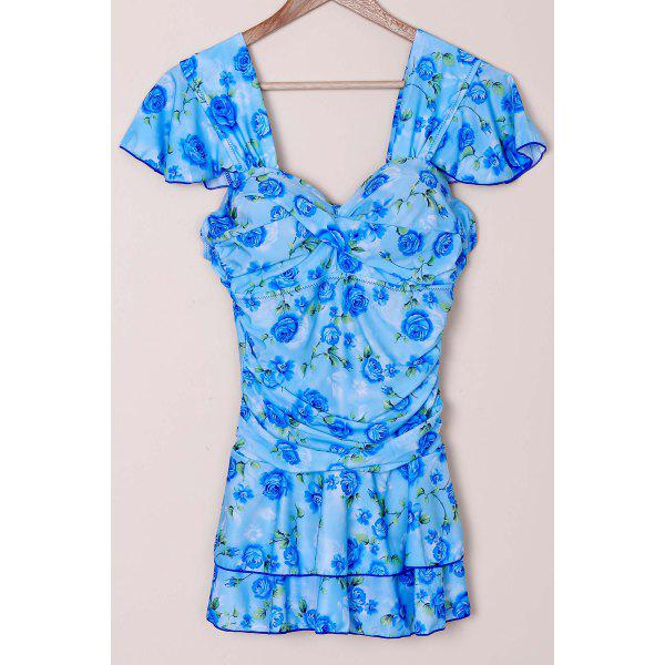 Refreshing Sweetheart Neck Short Sleeve One-Piece Floral Print Women's Swimwear