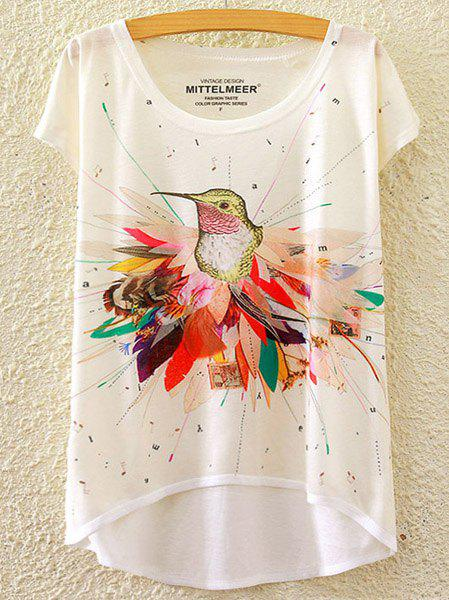 Brief Women's Scoop Neck Bird Print High Low Short Sleeve T-Shirt - WHITE ONE SIZE(FIT SIZE XS TO M)