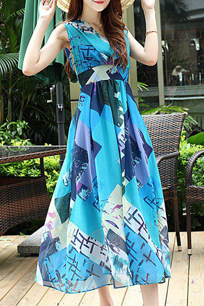 Bohemian Sleeveless V-Neck Chiffon Geometric Print Women's Dress