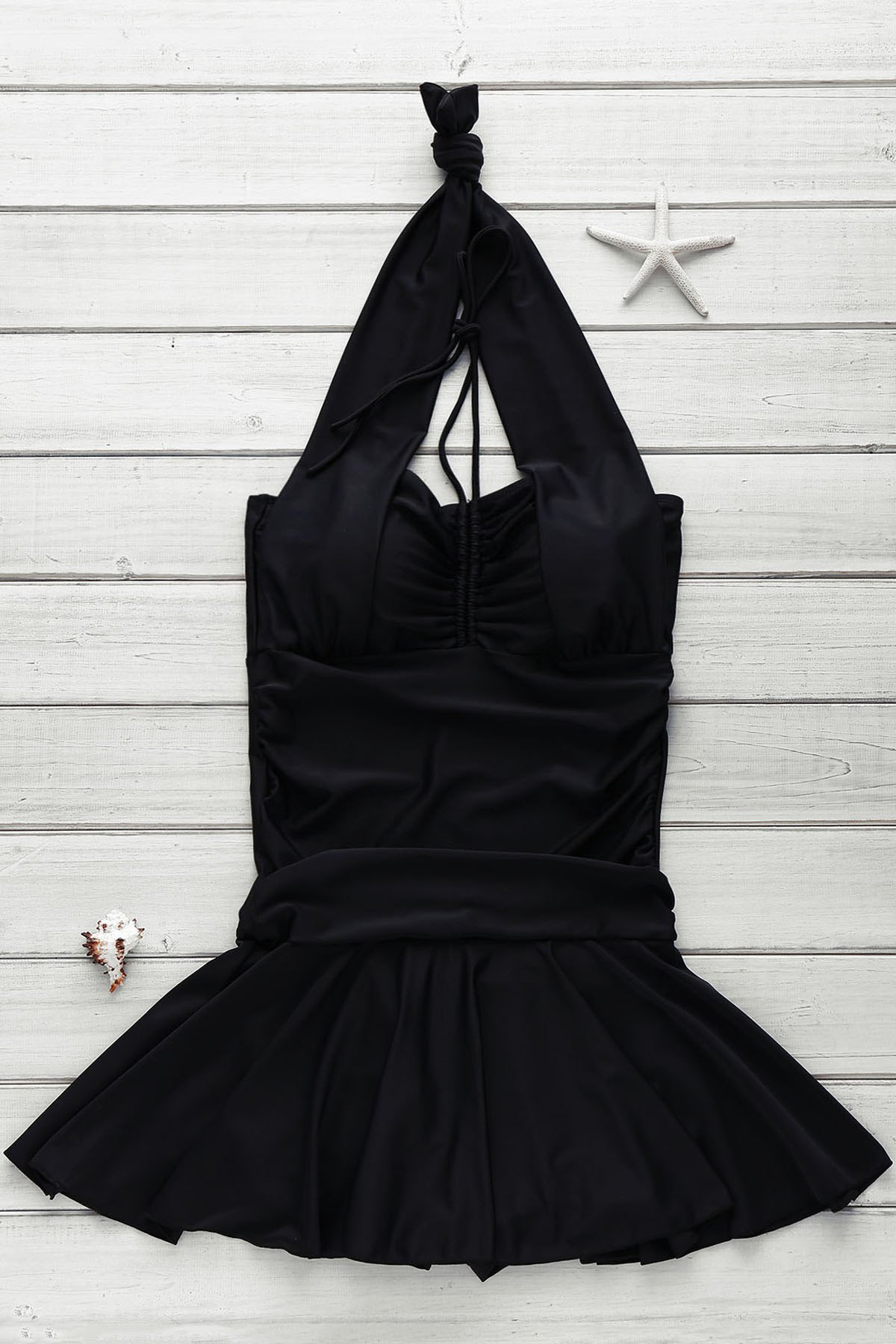 Cute Halter Ruched Solid Color One-Piece Swimsuit For Women - BLACK L