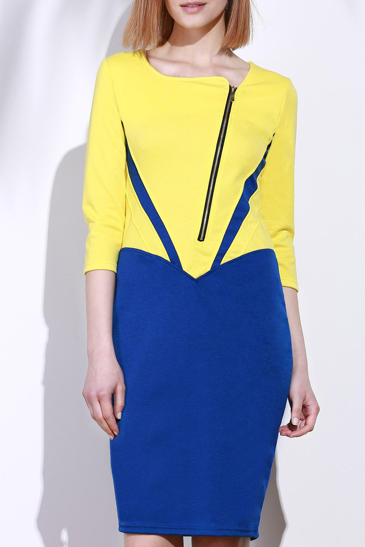 Elegant 3/4 Sleeve Square Neck Zippered Color Block Women's Dress - YELLOW L
