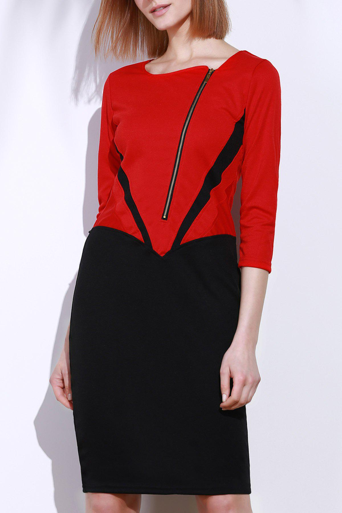 Elegant 3/4 Sleeve Square Neck Zippered Color Block Women's Dress - RED XL