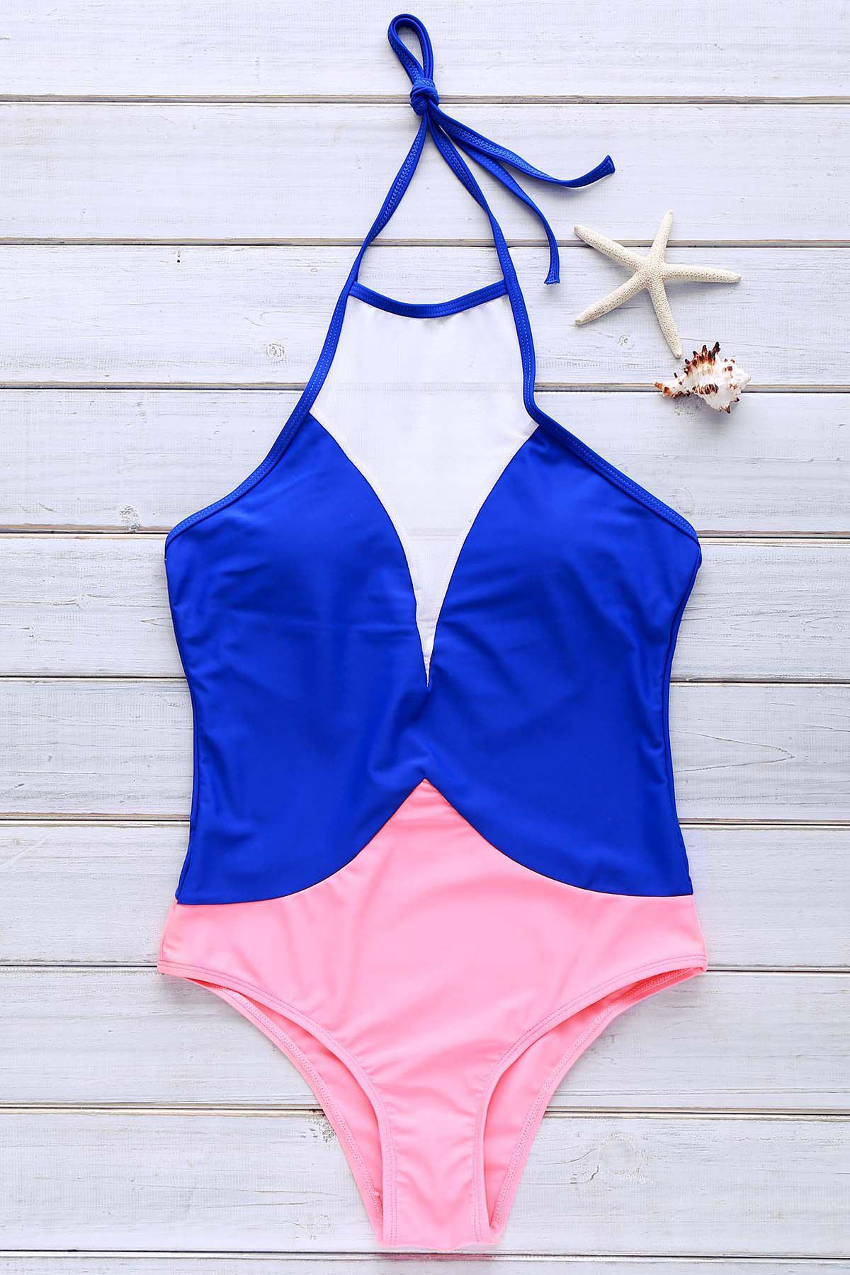 Stylish Womens Round Collar Halter Mesh Spliced One-Piece SwimsuitWomen<br><br><br>Size: M<br>Color: SAPPHIRE BLUE