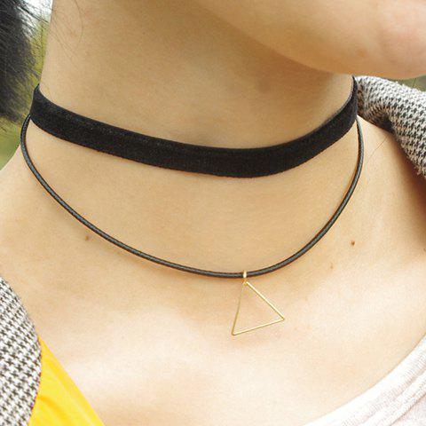 Chic Hollow Triangle Pendant Black Double Chokers Necklace