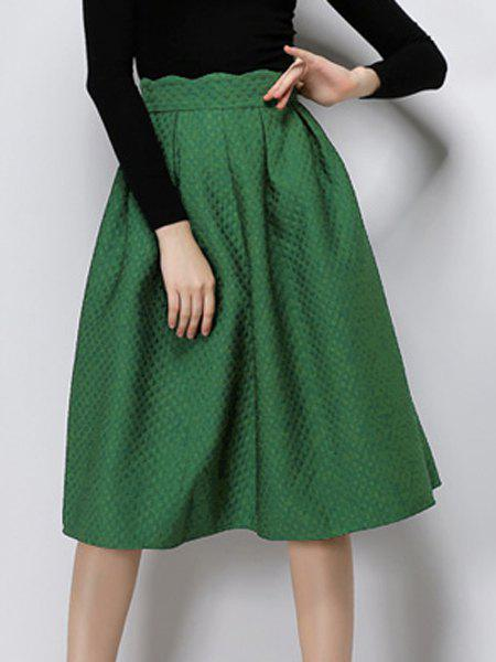 Elegant Women's High Waist Solid Color Mid-Calf Skirt