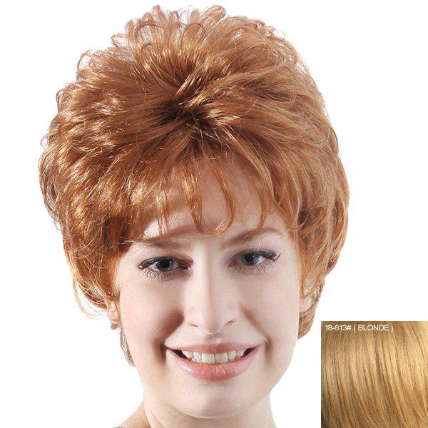 Bouffant Curly Full Bang Capless Human Hair Short Wig - BLONDE