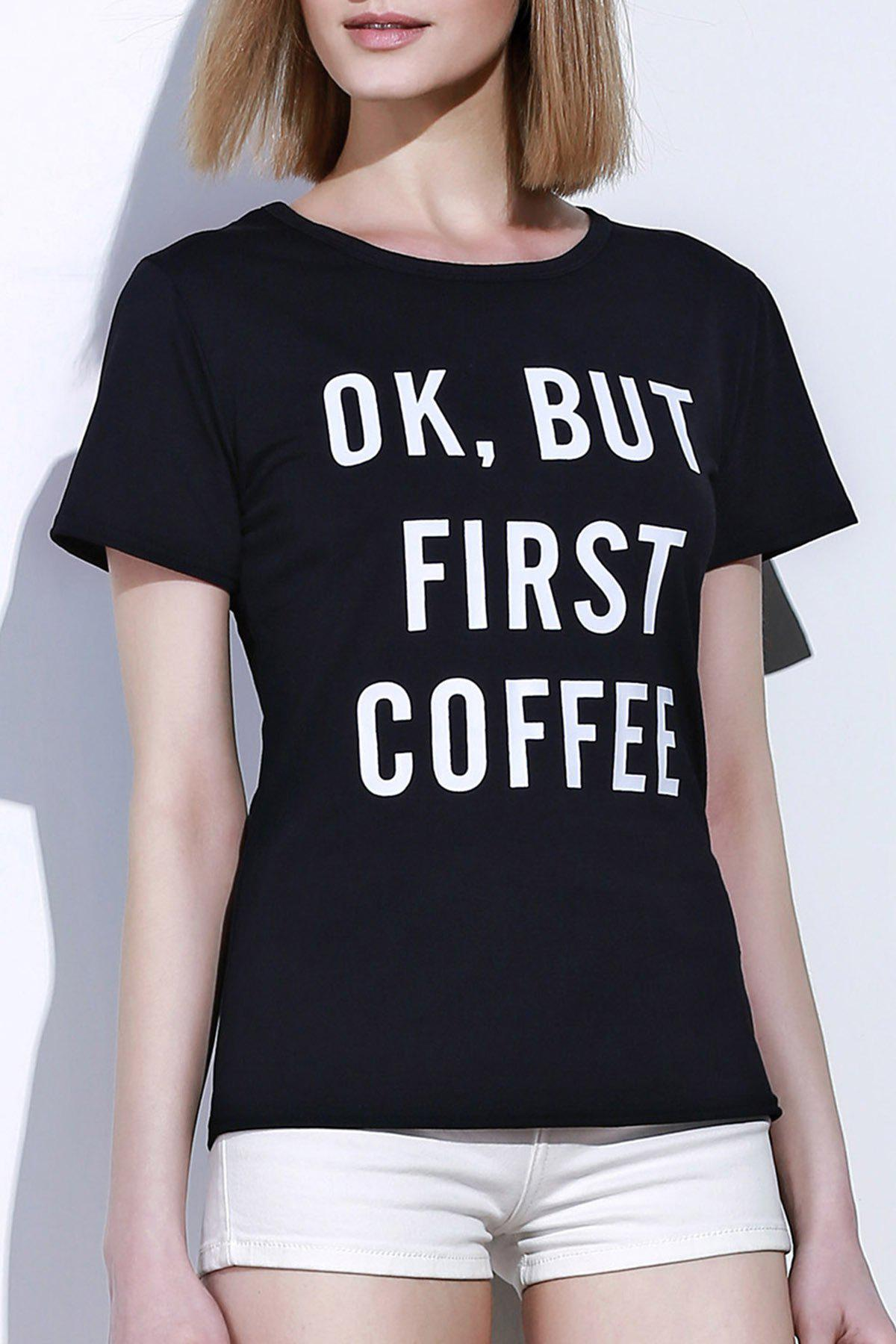 Casual Round Collar Letter Print Short Sleeve Women's T-Shirt - BLACK S