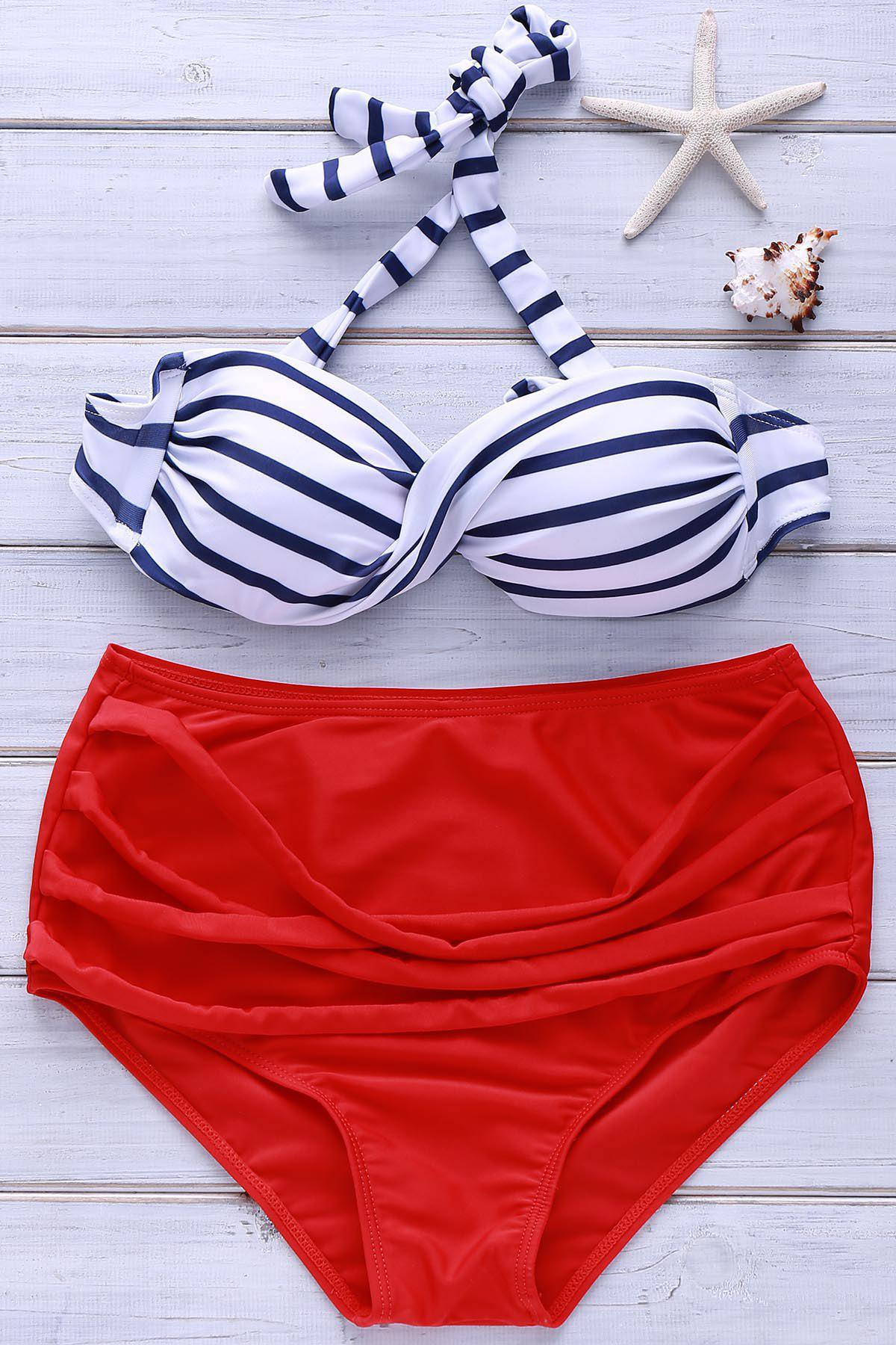 Retro Style Halterneck Striped High-Waisted Bikini Set For Women - AS THE PICTURE XL