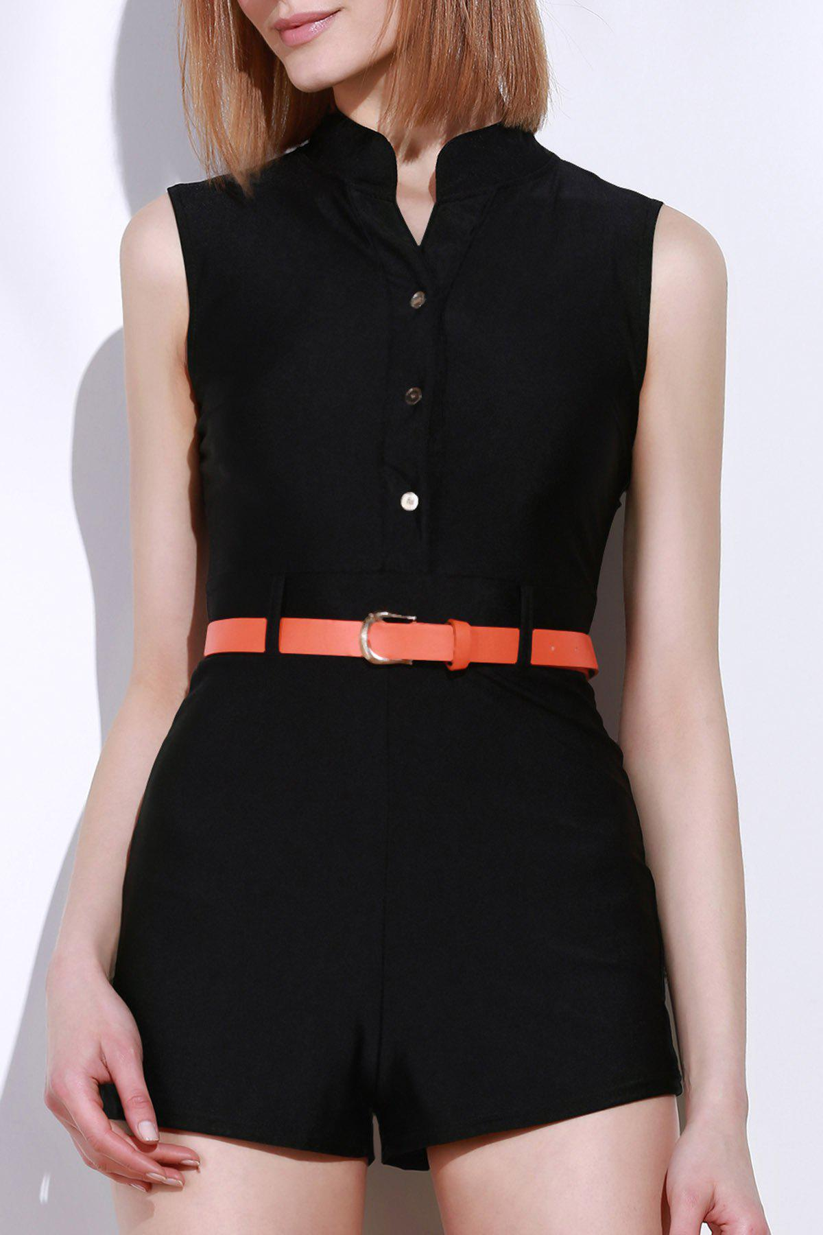 Stylish Stand-Up Collar Sleeveless Slimming Button Design Women's Romper