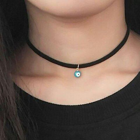 Round Eye Bead Embellished Chokers Necklace - BLACK