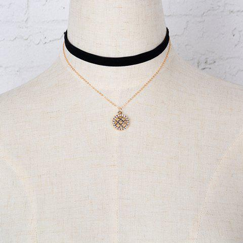 Rhinestone Hollow Out Round Pendant Double Chokers Necklace stylish round and rectangle pendant double pu chokers necklace for women