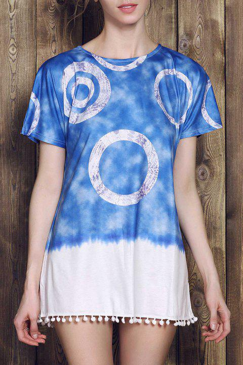 Casual Style Short Sleeve Round Neck Tie Dye Women's Mini Dress