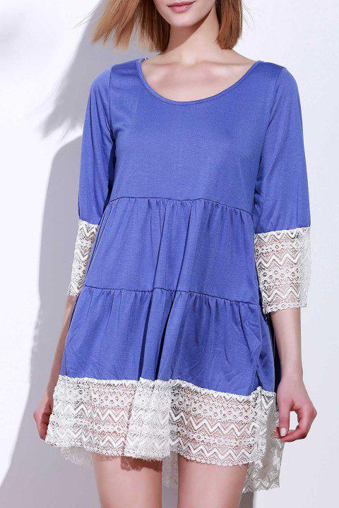 Casual 3/4 Sleeve U-Neck Loose-Fitting Lace Splicing Women's Dress - PURPLE M
