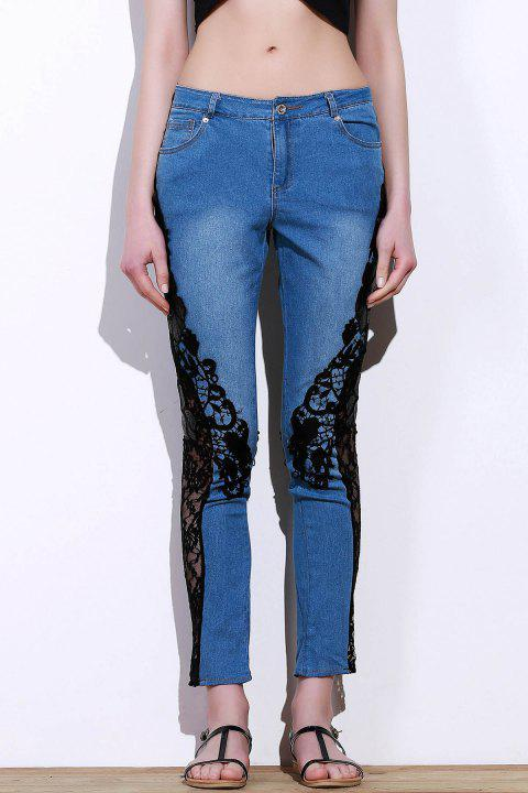 Stylish Mid-Waisted See-Through Lace Embellished Women's Jeans - BLUE/BLACK XL