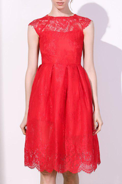 Fashionable Women's Round Collar Cap Sleeve Lace A-Line Dress - RED L