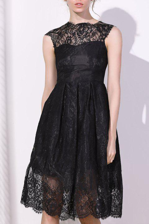 Fashionable Women's Round Collar Cap Sleeve Lace A-Line Dress - BLACK S