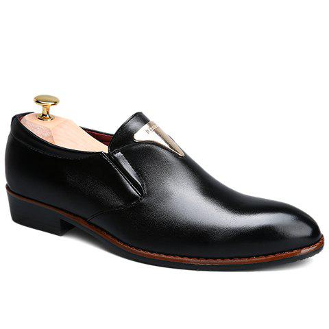 Stylish Metal and Solid Color Design Men's Formal Shoes - BLACK 38