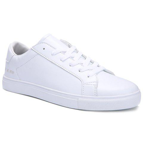 Stylish Lace-Up and Figure Print Design Men's Casual Shoes - WHITE 44