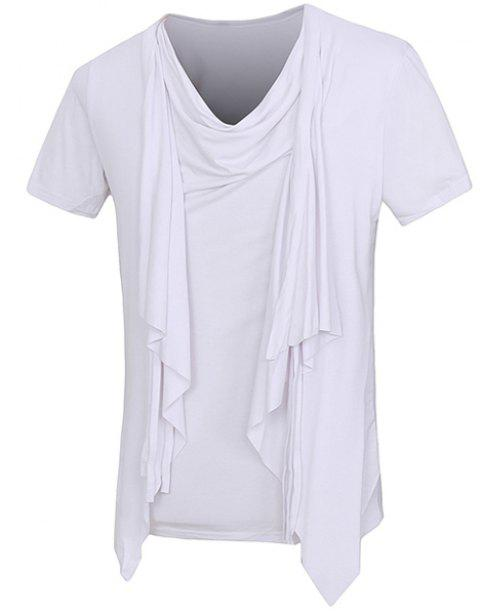 Solid Color Short Sleeves Faux Twinset Men's T-Shirt - WHITE XL