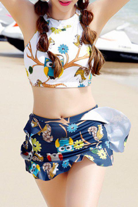 Sweet Keyhole Neckline Openback Cartoon Print Women's Swimsuit - WHITE XL