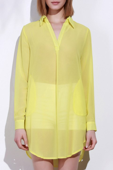 Stylish Turn-Down Collar Solid Color Loose-Fitting Long Sleeve Women's Dress - YELLOW L