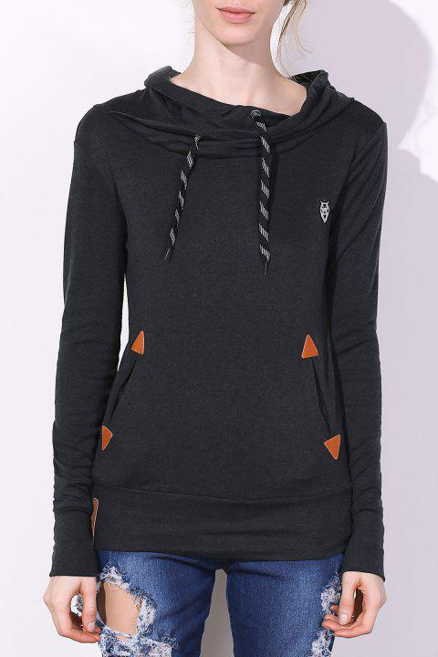 Embroidered Drawstring Pocket Design Hoodie - BLACK L