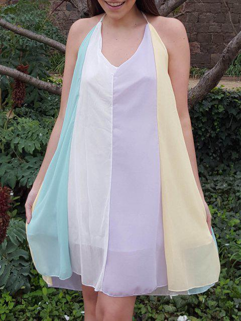 Stylish Spaghetti Strap Chiffon Color Block Women's Dress - COLORMIX S