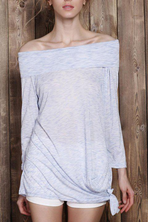 Fashionable Off-The-Shoulder Solid Color Plus Size 3/4 Sleeve Women's T-Shirt - LIGHT GRAY XL