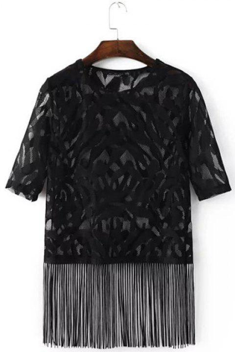 Stylish Women's Jewel Neck Half Sleeves Lace See-Through Top - BLACK L