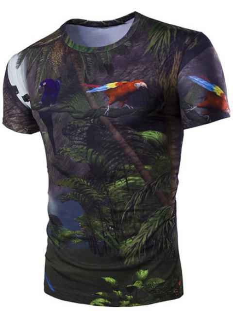 Slimming Round Collar 3D Parrot Printed Short Sleeves T-Shirt For Men - BLACK 2XL